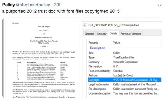 Предполагаемая фальсификация документов доверительного управления Крейгом Райтом