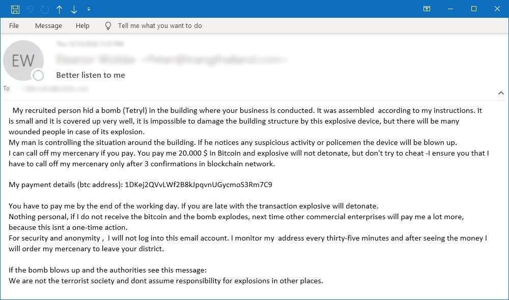 Пример мошенничества по электронной почте. Источник: Symantec