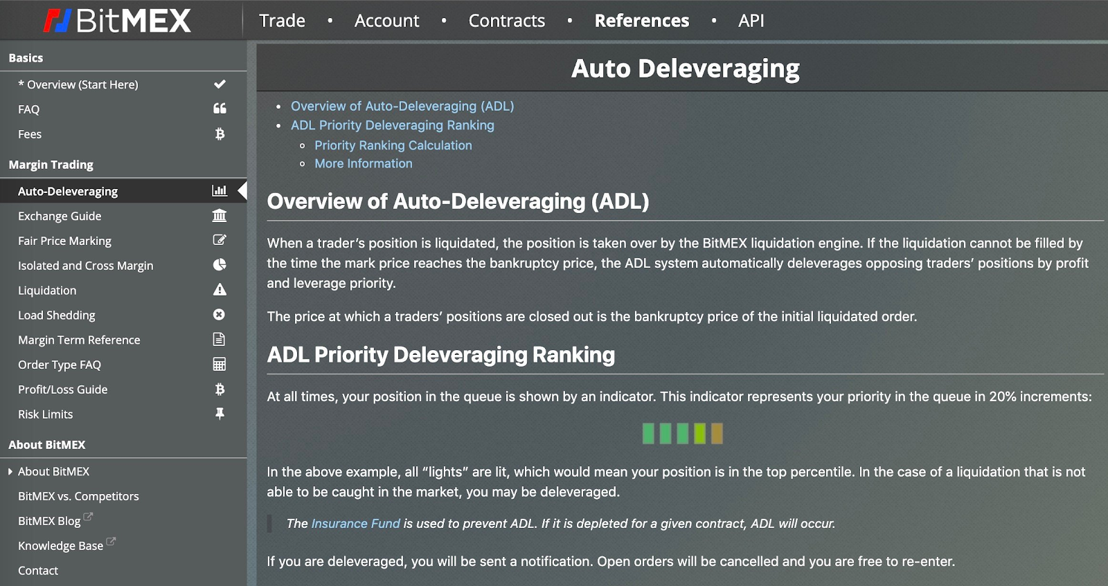 """Screenshots of Binance's """"Overview of Auto Deleveraging (ADL)"""" text [left] and that of BitMEX"""
