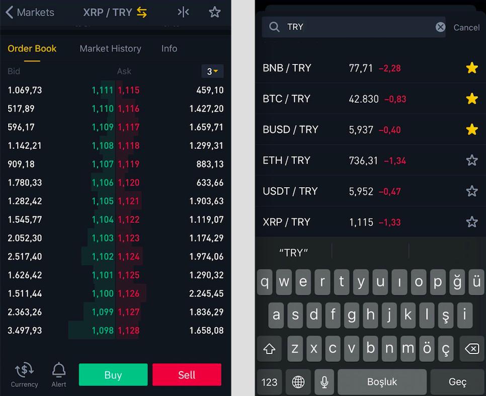 Скриншоты торговых пар турецкой лиры доступны на Binance